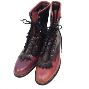 Laredo Red Roper Laced Up Combat Boots sz 9